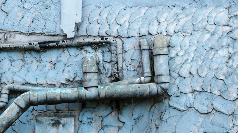 Old Dirty Water Pipes On Vintage Painted Wall Texture - Blue/ Te ...