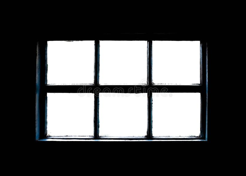 Old dirty window with a wooden frame. Close up stock photo