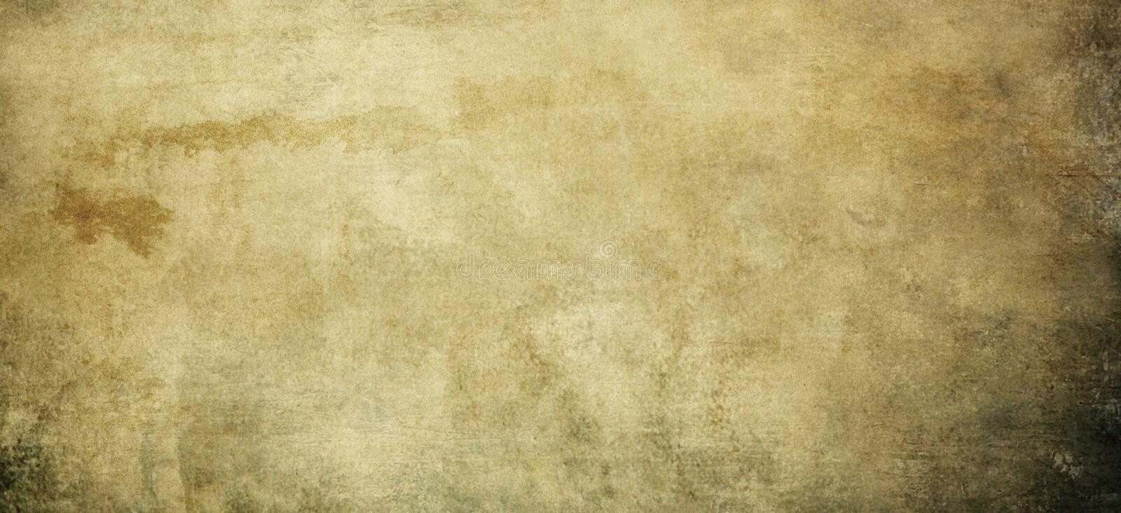 Old dirty and yellowed paper texture for background. stock image
