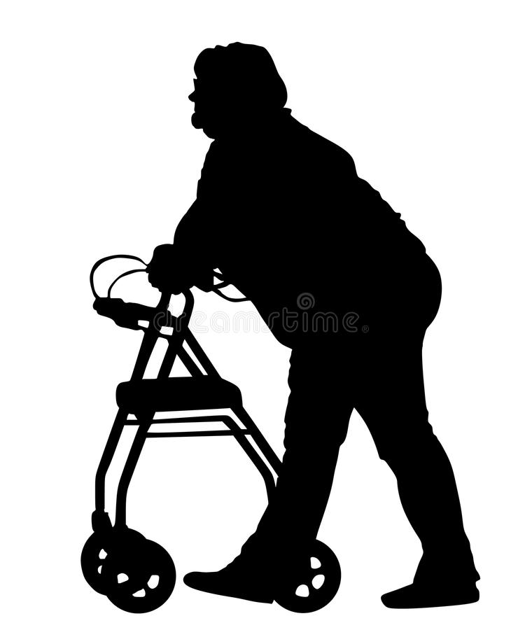 Old disabled woman using a walker silhouette . Senior woman active life with medical support. stock illustration