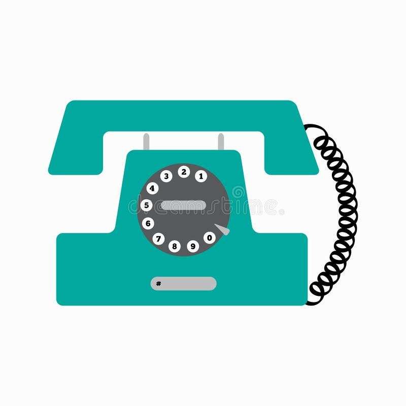 Old disk phone. Stationary retro telephone. Vector illustration. royalty free illustration