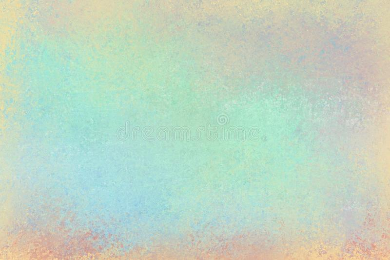 Old distressed background design with faded grunge texture in colors of pastel blue green pink yellow orange and red stock photo