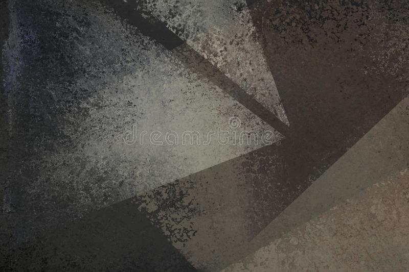 Old distressed black background design with faded grunge texture in abstract triangle shapes of white and gray vector illustration