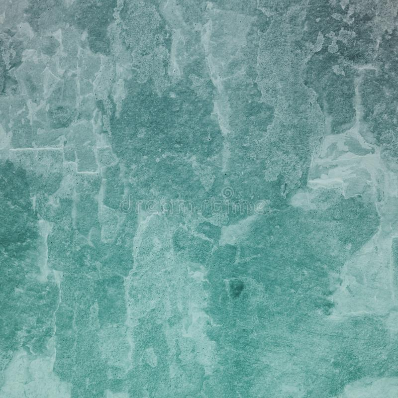 Old distressed grunge background texture in white grungy and crackled paint, weathered vintage backdrop in blue green hue stock illustration