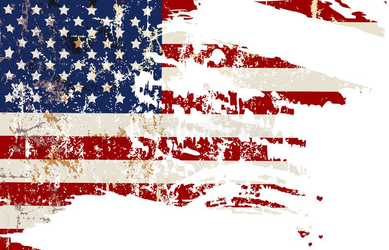 Old distressed grungy USA flag design element, vector illustration. Stars and stripes abstract vector illustration