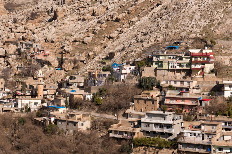 Old Distric Of Akre Aqrah Kurdistan Of Iraq With A Mosque. A general photo of Akre Aqrah city in Kurdistan of Iraq. Lokated in the north of Iraq. The old royalty free stock image
