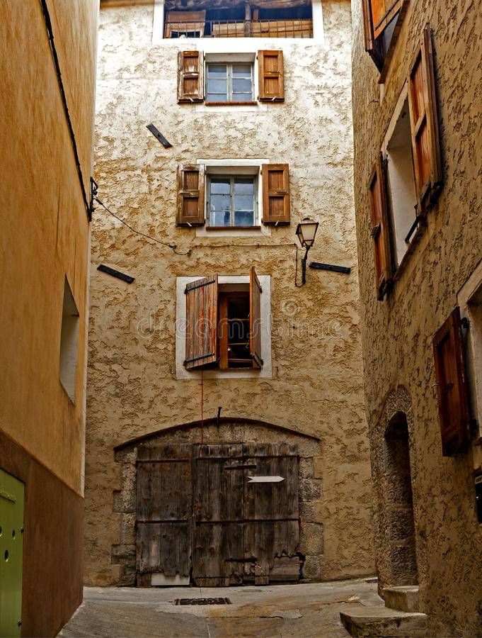 In the old district of Entrevaux, France. Entrevaux France is one of those Provencal villages that has been able to keep its character and charm royalty free stock image