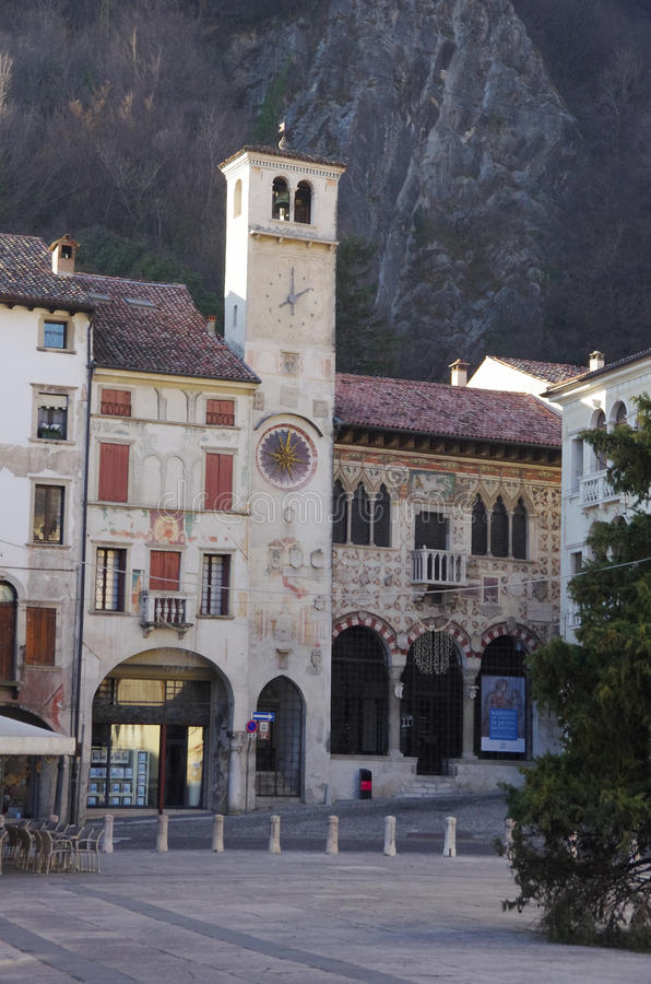 The old district of Serravalle, one of the two old village forming the town Vittorio Veneto royalty free stock photo