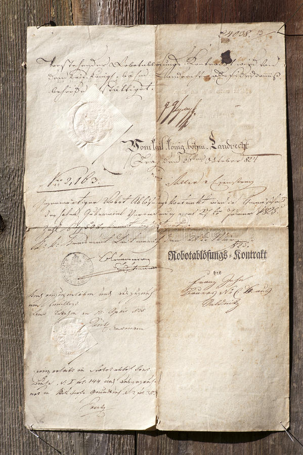 Old document from 1824 royalty free stock photography