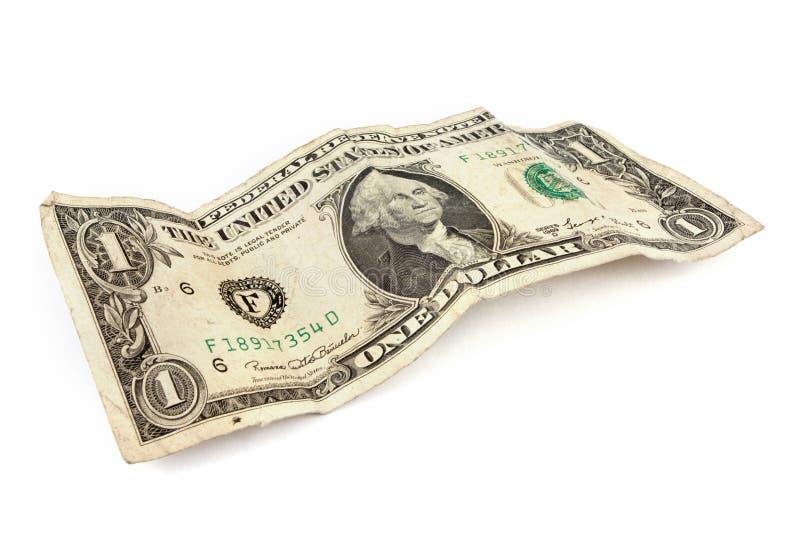 Old dollar bill over white