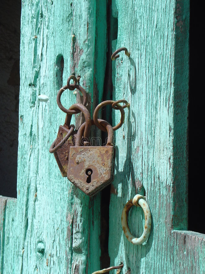 Download Old door stock photo. Image of corpse, turqoise, padlock - 104202