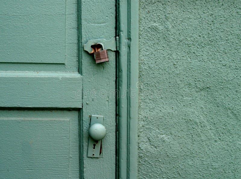 Download Old Door stock photo. Image of knob, locked, metal, green - 148590
