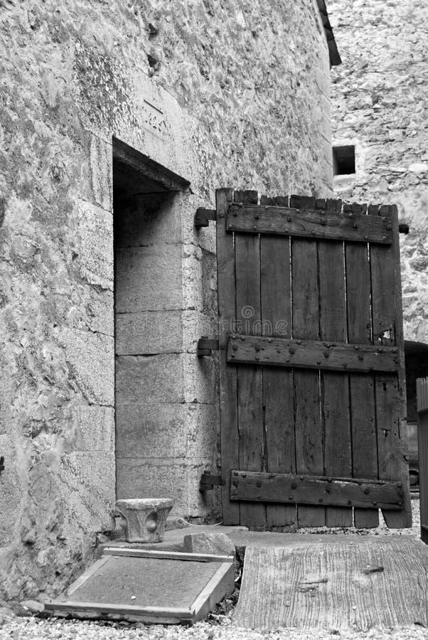 Old door. Old wooden door at Villefrance-de-Conflence stock photo