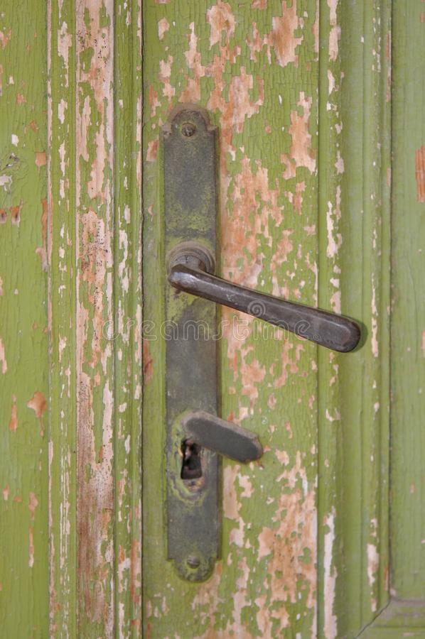 Old door handle. From abandoned house royalty free stock photos