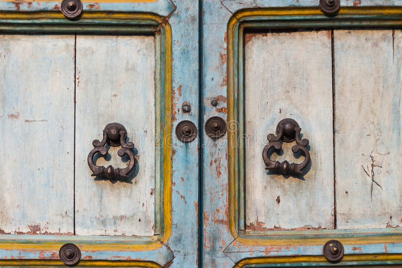 Old door and handle. For vintage style stock photography