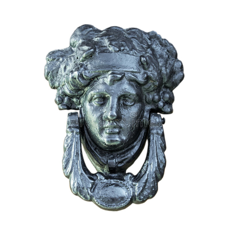 Old door knocker from Italy. Old door knocker from Italy, Isolated on background. Clipping path included royalty free stock images