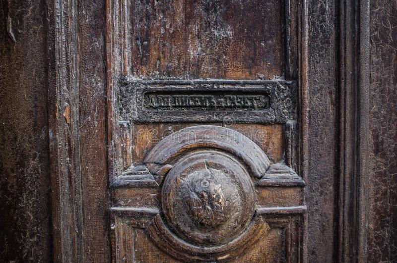 Old Door - mailbox for letters and newspapers, Russia. Old Door mailbox for letters and newspapers, Russia stock photo