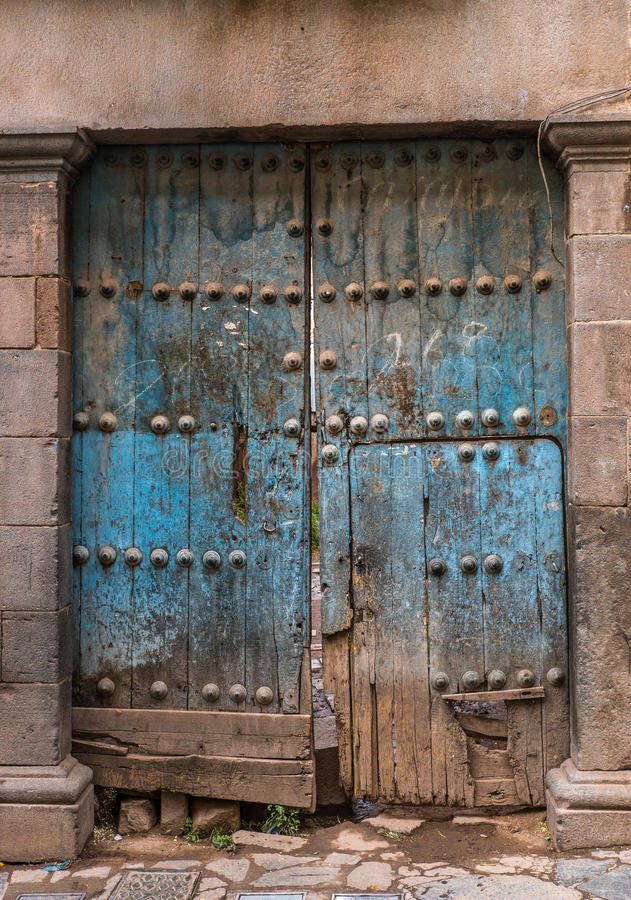 Old door. Old and obsolete wooden door stock photography