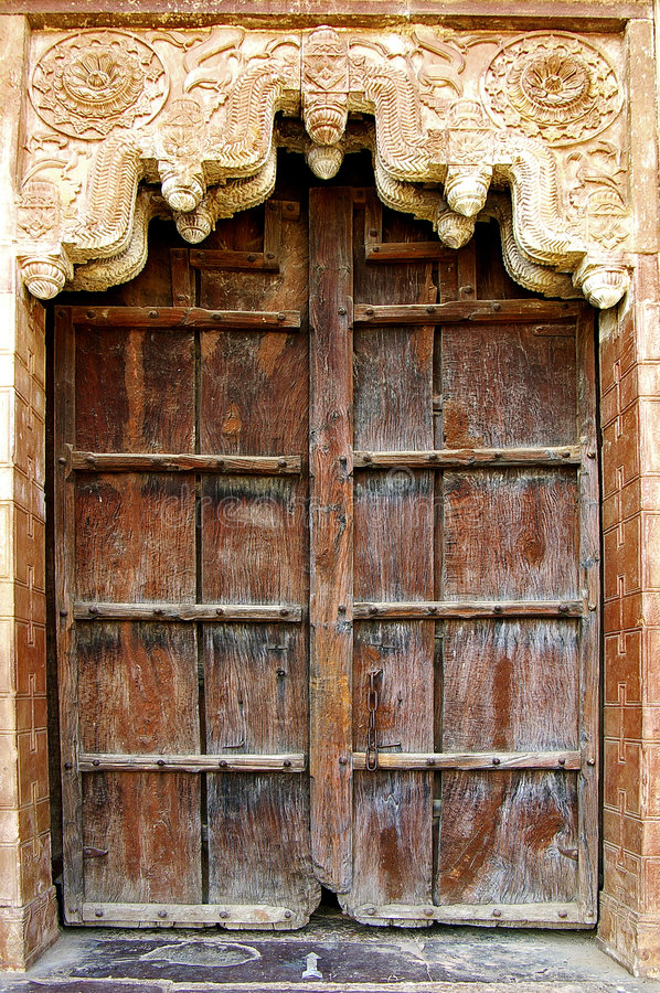 Old door in a palas. Orcha, India stock photography