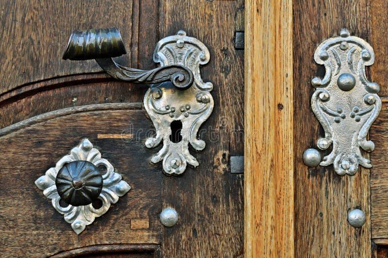 Old door in Prague, detail stock photo