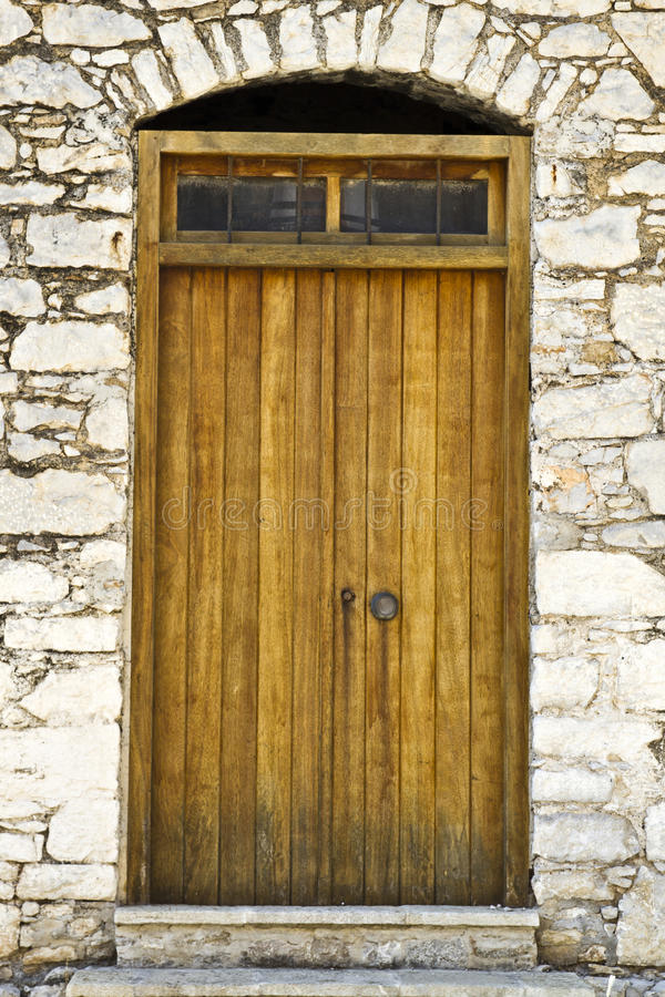 Old door in Rhodes stock photo