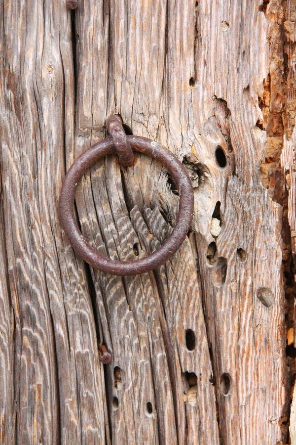 Old Door Ring on a Wood Door