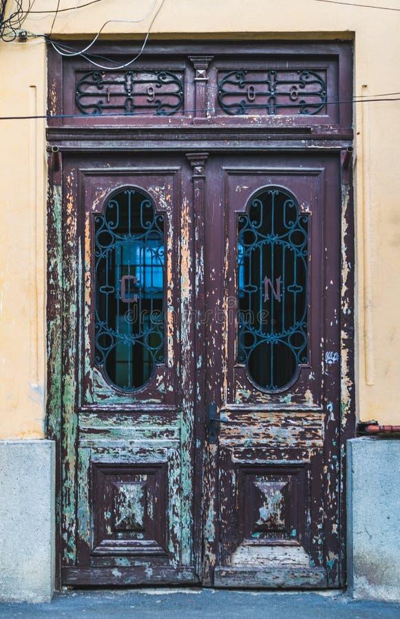 Old door in Sibiu, Romania stock image