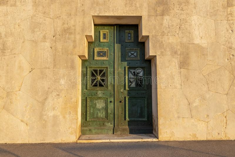 A old door on the street stock photo
