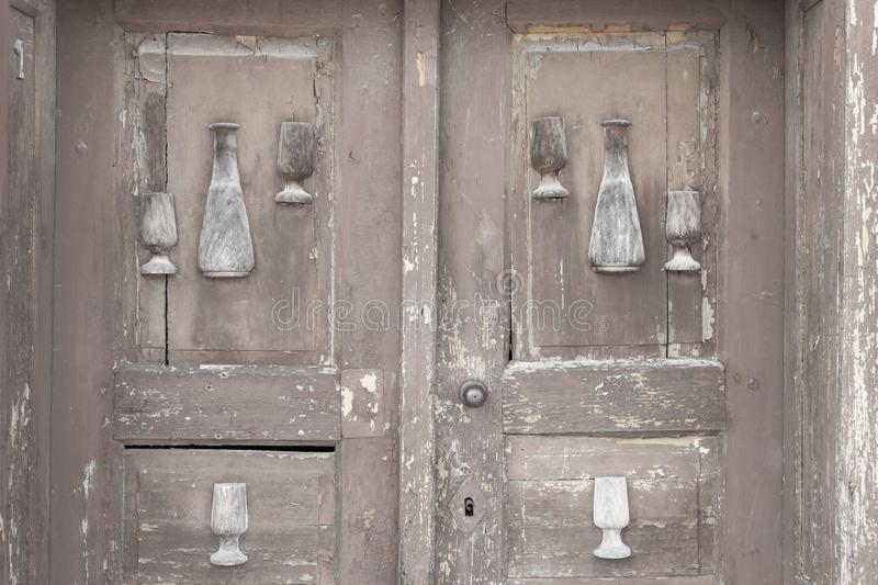 Old door, wine cellars, Villanykovesd, Hungary. Doors vine village many traditional rural outdoors house summer row winery landmark sunny white agriculture royalty free stock image
