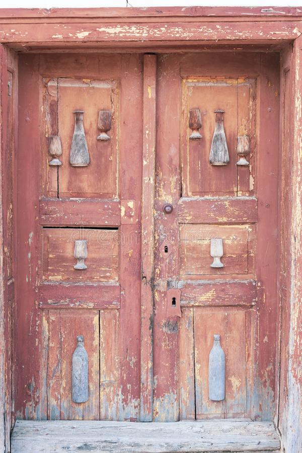Old door, wine cellars, Villanykovesd, Hungary. Doors vine village many traditional rural outdoors house summer row winery landmark sunny white agriculture stock image