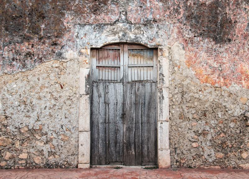 Old door of Yucatan, Mexico royalty free stock images