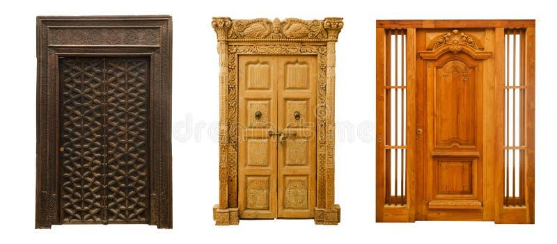 Old doors set 6 stock images