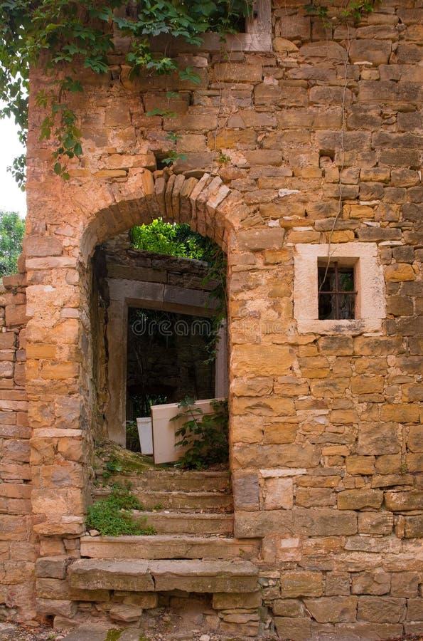 Doorway in Oprtalj. An old doorway in the historic hill village of Oprtalj in Istria, Croatia stock photography