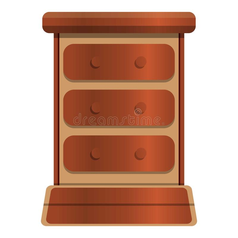 Old drawer icon, cartoon style. Old drawer icon. Cartoon of old drawer vector icon for web design isolated on white background royalty free illustration