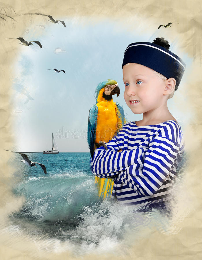 Old Drawing With Sailor Boy And Parrot Royalty Free Stock Photo