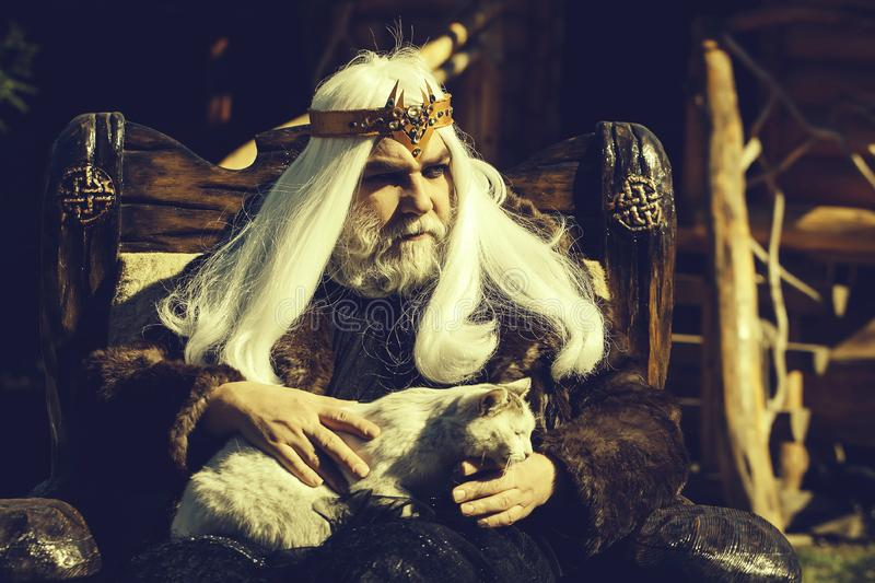 Old druid sits in chair. Druid old man with long grey hair beard with crown in fur coat holds cat and sits in wooden chair on log house background royalty free stock images