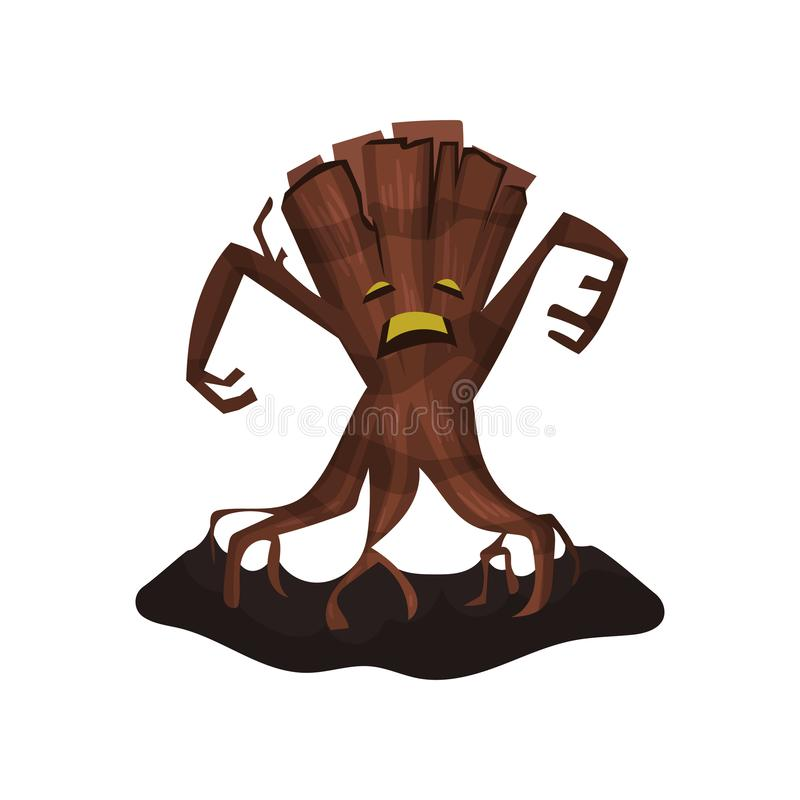 Old dry tree with creepy face, big branches and roots. Terrible monster. Flat vector for Halloween poster, mobile game. Old dry tree with creepy face, big royalty free illustration
