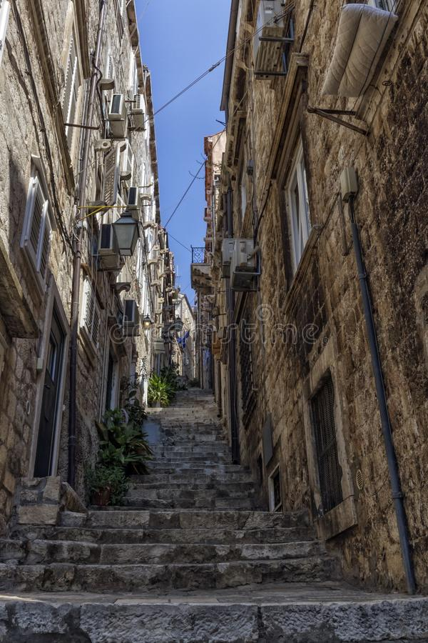 Old Dubrovnik street, Croatia. Old Dubrovnik street with stairs by day, Croatia stock photos