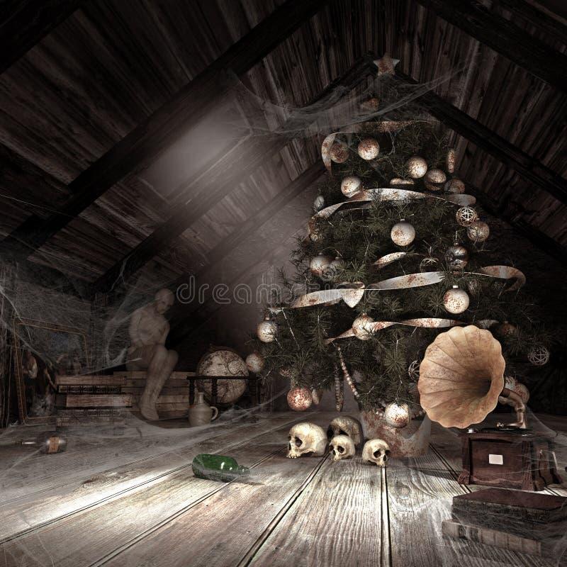 Old dusty attic stock illustration