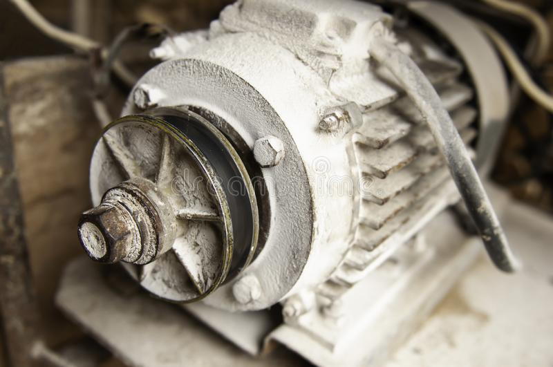 Old dusty engine with white flour royalty free stock photography