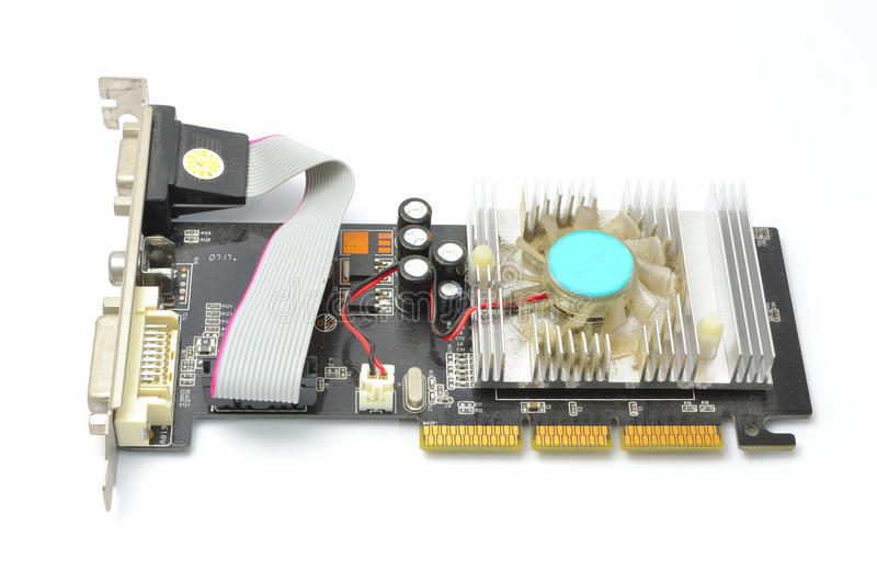 Old and dusty graphics card stock image