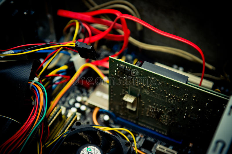Old dusty pc motherboard plug detail vintage color effect royalty free stock photography