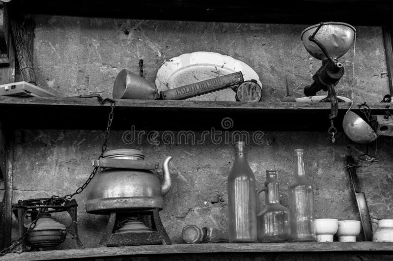 Old dusty shelf stock photography