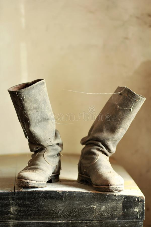 Old dusty vintage boots royalty free stock images