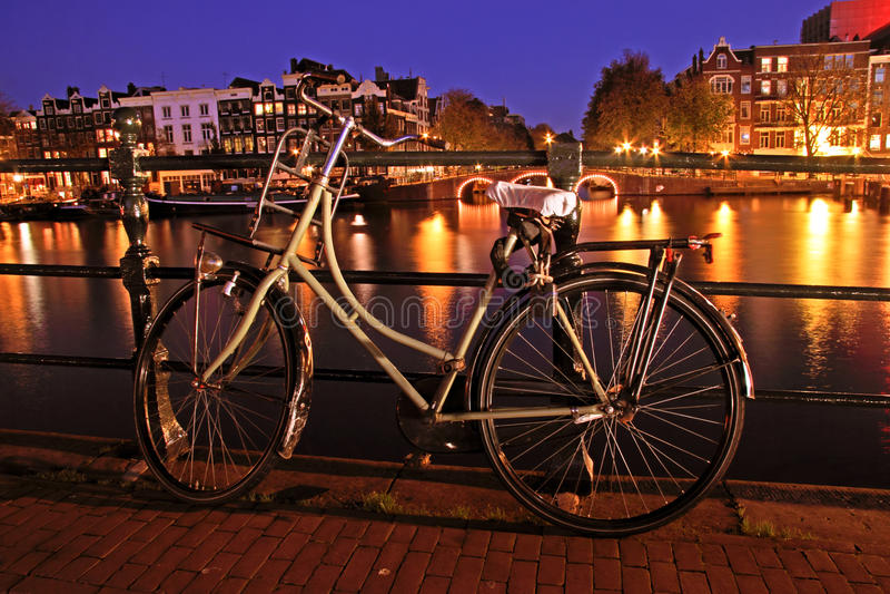 Old dutch bike in Amsterdam in Netherlands stock image