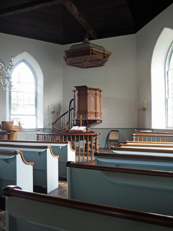 Old Dutch Church in Sleepy Hollow NY. Interior of the Old Dutch Church in Sleepy Hollow, New York. The stone church was built in the 17th century stock images