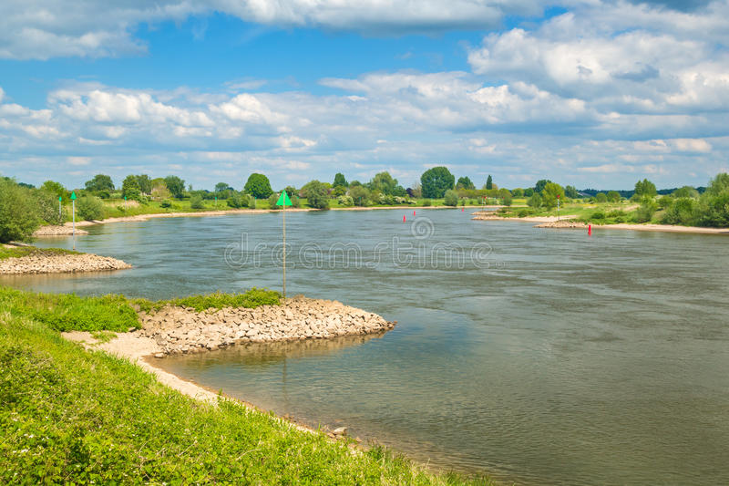 The old Dutch river IJssel between Zutphen and Deventer stock images