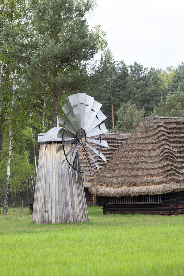 Old Dutch windmill in open-air museum, Ethnographic Park, Kolbuszowa, Poland.  royalty free stock photos