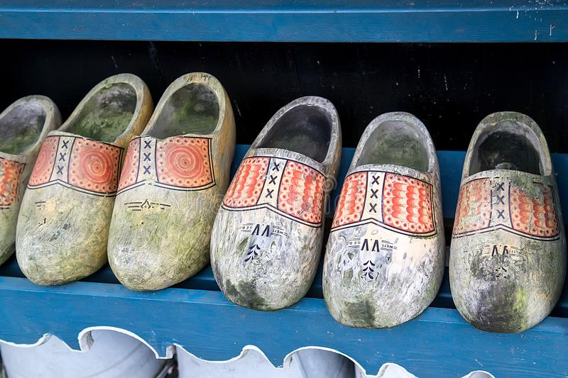 Old dutch wooden shoes royalty free stock image