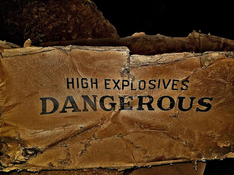 Old dangerous high explosives box royalty free stock photo